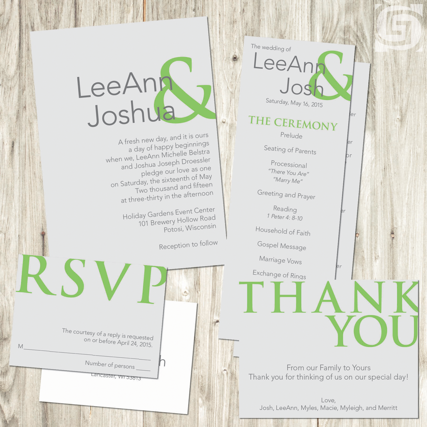 Wedding invitations wolfs grantland graphics business forms postcards posters banners signs invitations for all occasions programs holiday cards thank yous magicingreecefo Images